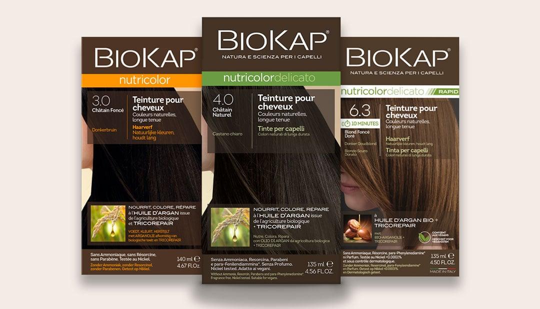 Les colorations naturelles de Biokap : coloration, spray retouche, shampoings, crème éclaircissante, baume capillaire pour tous types de cheveux et cheveux délicats