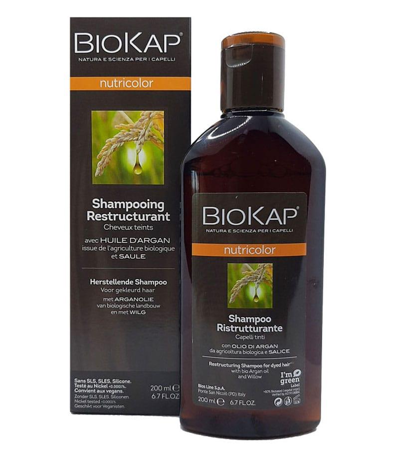 Shampooing naturel pour cheveux colorés restructurant, nourrissant et protecteur à base d'ingrédients végétaux
